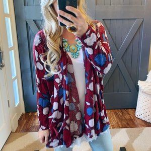 PLUS NWT Made in the USA Floral Knit Cardigan XL